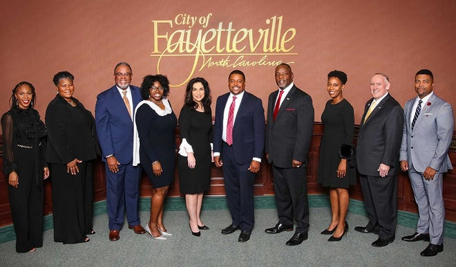 The Fayetteville City Council. From left, members are Tisha Waddell, Yvonne Kinston, D.J. Haire, Shakeyla Ingram, Kathy Jensen, Mayor Mitch Colvin, Larry Wright, Courtney Banks-McLaughlin, Johnnie Dawkins and Chris Davis.