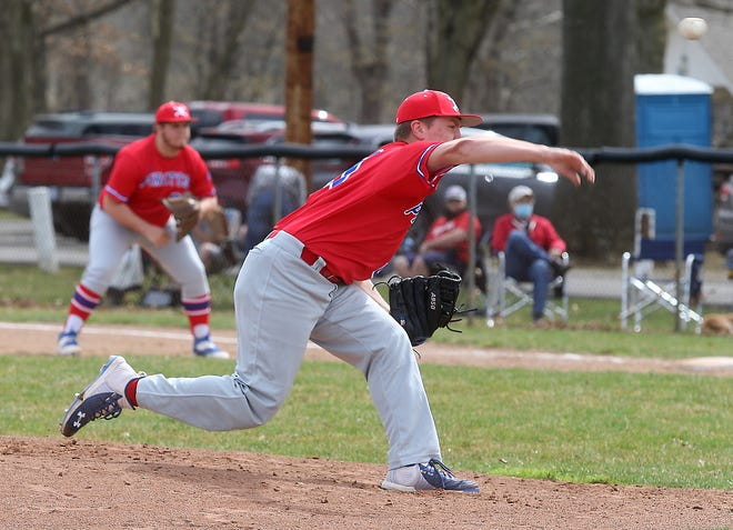 Garaway starting pitcher Kutter Hershberger throws a pitch in the Game 1 of a season opening baseball doubleheader at Strasburg Saturday. Garaway won a close game 4-3.