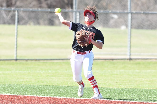 Coronado shortstop Harley Garcia (11) throws to first base during a District 4-5A game Friday against Abilene Wylie at Lady Bulldog Field in Abilene.