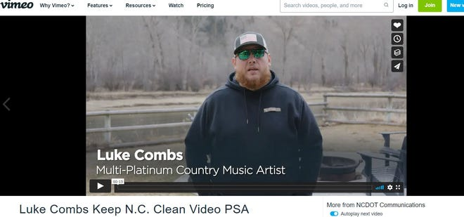Country singer Luke Combs, an Asheville native, has made two public service announcements about littering for the North Carolina Department of Transportation.