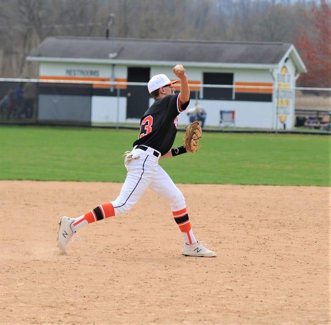 Ridgewood third baseman Braden Maleski throws to first base in Saturday's 4-0 win over Zanesville.