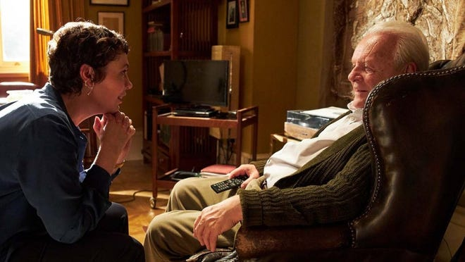 "Olivia Colman (left) and Anthony Hopkins (right) play child and parent in ""The Father,"" marking their first ever on-screen pairing."
