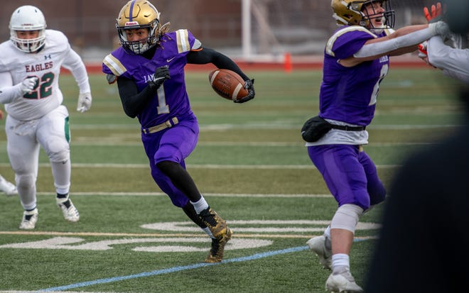 Fort Collins High School receiver Dorion McGarity, shown during a March 26, 2021, game against Adams City at French Field in Fort Collins, Colo., said Monday on Twitter that he had committed to Colorado State's football program as part of its 2022 recruiting class.