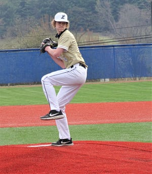 Lancaster junior pitcher Layton O'Rourke gets set to deliver a pitch against Amanda-Clearcreek in a non-conference game Saturday at Beavers Field. The Golden Gales opened the season with a 12-2 win over the Aces.