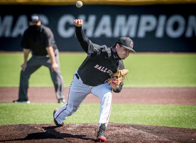 Ball State's Chayce McDermott pitches against Toledo during their game at Ball Diamond Saturday, March 27, 2021.
