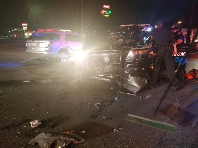 The scene from a crash involving a La Vergne police officer Friday night.
