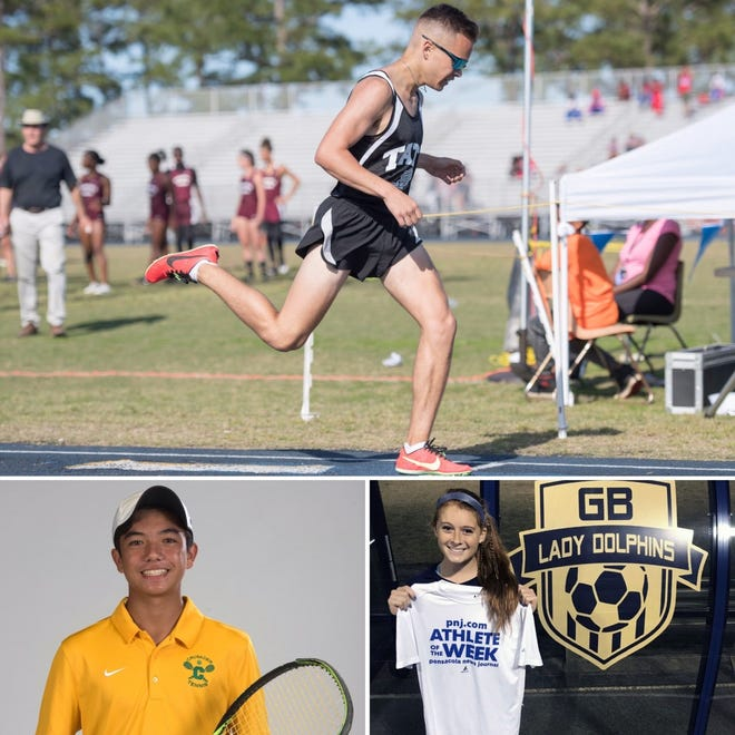 Tate track and field's Brandon Knieja (top), Catholic tennis' Patrick Ling (bottom left) and Gulf Breeze flag football's Meredith Pugh (bottom right) are nominees for PNJ Athlete of the Week.