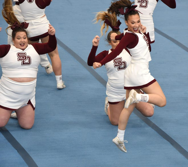 The Stuarts Draft competition cheer team competes at the Shenandoah District championship Saturday, March 27.