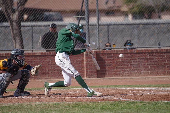 Montwood's Jesus Tovar hits the ball. Eastwood High School defeated Montwood 7-6 in baseball at Montwood High School on March 27, 2021.