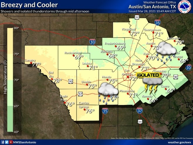 Isolated showers swept through Central Texas on Sunday morning and left cooler weather behind.
