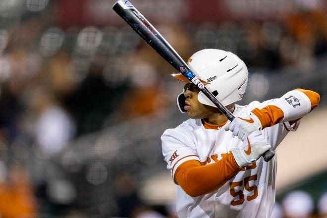 Texas batter Cam Williams (55) waits for the Boise State pitch during an NCAA college baseball game in Austin, Friday, Feb., 21, 2020. [Stephen Spillman for Statesman]