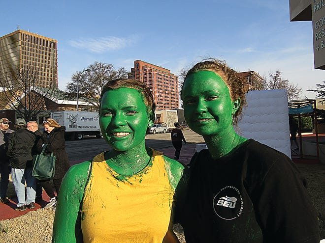 Halle Warneke, left, and Jayce Dyck went all out to show their support for ShamRock the 'Ville last year.