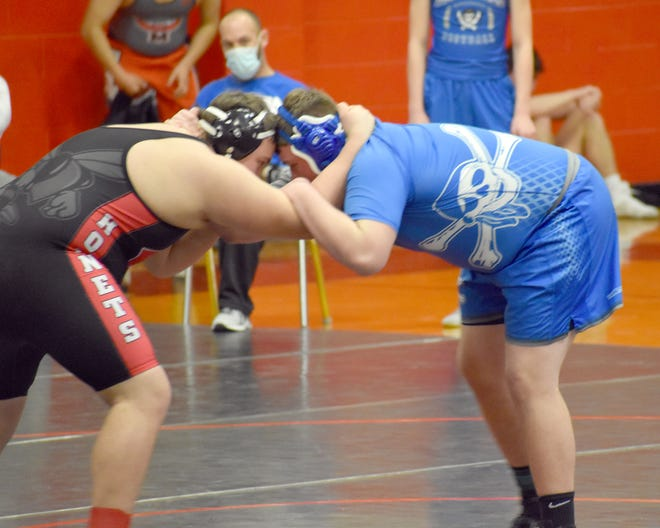 Boonville senior Gaige Offineer tied for first team all-conference in the TCC with Eldon's Jasper DeGraffenreid in the 285 pound weight class. Offineer and DeGraffenreid both split their matches during the season.