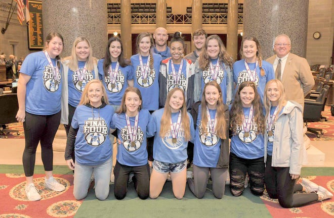 The Boonville Lady Pirates basketball team was recently recognized at the Missouri State Capitol in Jefferson City after winning the first state title in program history on March 20 in Springfield.Pictured above: Front row- Zoey Lang, Faith Mesik, AlisonEichelberger, Abby Fuemmeler, Molly Schuster, Addison Brownfield. Back Row-Abby Pulliam, Jordan Brackman, Kennedy Renfrow, Brooke Eichelberger, Jaryt Hunziker, Jodie Bass, Paul Moore, Emma West, Kourtney Kendrick, Rep.Tim Taylor