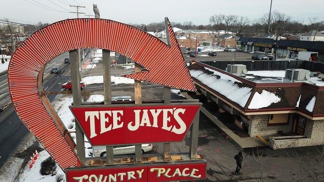The iconic Tee Jaye's sign