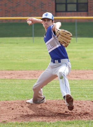 Buckeye Trail's Cannon Clum prepares to let loose with a pitch during Saturday's opening day doubleheader at Shenandoah High School.