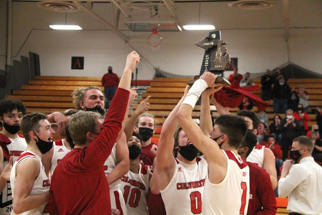 The Coldwater Cardinals wrapped up their fourth straight Division One District Championship Saturday with a 87-55 win over Battle Creek Central.