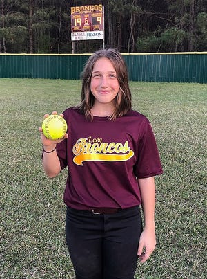 Simpson seventh-grader Ashlyn Allain hit her first career home run on Thursday in a win over Pleasant Hill.
