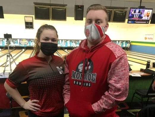 Nataleigh Eagle and Nick Walters represented Monroe at the Division 1 state bowling finals Saturday.