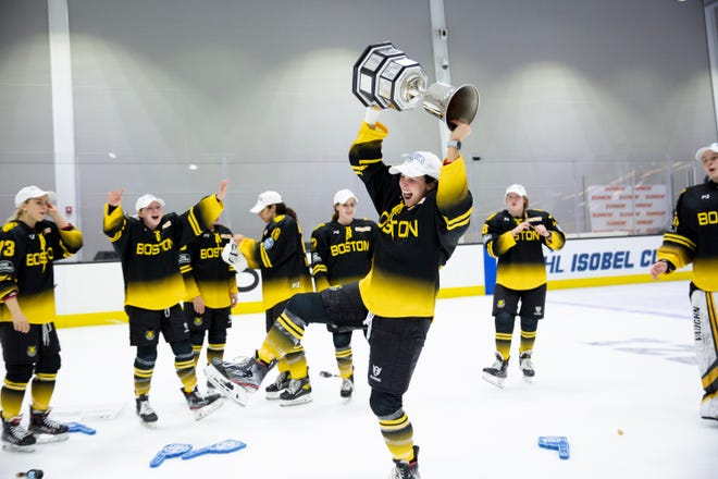 The Boston Pride celebrate winning the 2021 Isobel Cup Final at Warrior Ice Arena in Boston on Saturday, March 27, 2021.