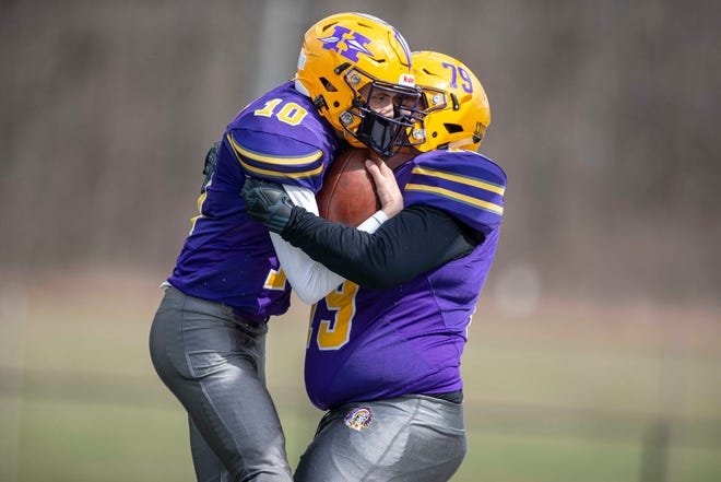 Hononegah's Isaac Whisenand and Colton Heinrich celebrate a touchdown against Auburn last Saturday. Whisenand ranks fifth in the NIC-10 in rushing and second in passing. Hononegah (2-0) plays at Boylan (2-0) 1 p.m. Saturday. Both teams are state-ranked in their respective classes.