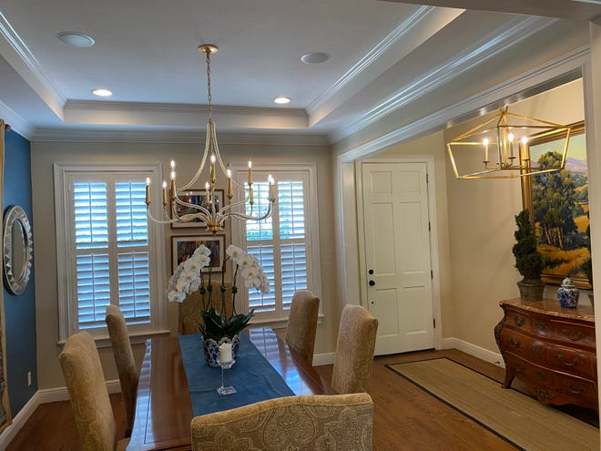 Light years ahead ― The author's dining room and foyer before and after getting a light fixture update. Changing light fixtures is a good time to upgrade lightbulbs, too.  Photos courtesy of Marni Jameson