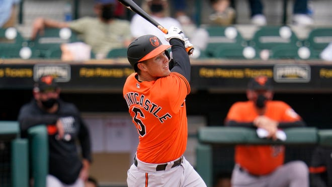 Baltimore Orioles' Ryan Mountcastle bats in a spring training game against the Pittsburgh Pirates in Bradenton on March 22.