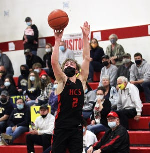Jason Jergens of Howardsville buries a 3-pointer against Climax-Scotts on Saturday evening.