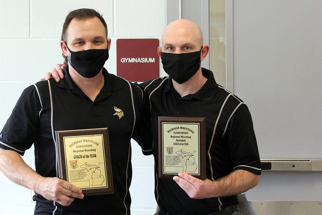Bronson's Chad Butters (left) and Tony Turner were named regional coach and assistant coach of the year on Saturday.