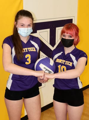 Sophomore Skyla Pulver, left, and junior Mackenzie Pupecki provide punch to the Monty Tech girls' volleyball lineup.