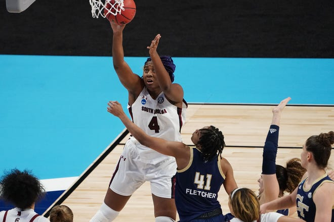 South Carolina forward Aliyah Boston shoots the ball past Georgia Tech  guard Kierra Fletcher (41) during the second half Sunday in San Antonio.