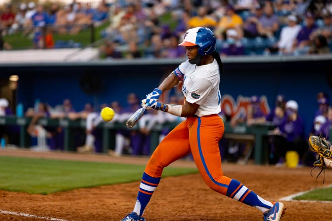 Florida's Cheyenne Lindsey (2-for-4) drove in a career-high five runs Sunday in the Gators' sweep of LSU at Katie Seashole Pressly Stadium.