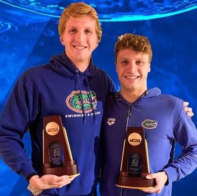 Florida national champions, Bobby Finke, left, and Kieran Smith.
