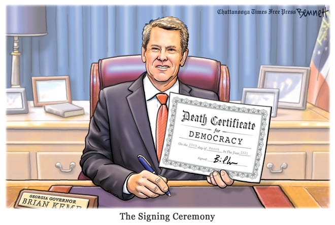 By signing Georgia's voting bill into law, Gov. Kemp sentences democracy to death.