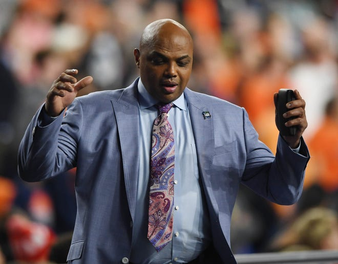 Apr 6, 2019; Minneapolis, MN, USA; Charles Barkley reacts in the second half in the semifinals of the 2019 men's Final Four between the Virginia Cavaliers and Auburn Tigers at US Bank Stadium. Mandatory Credit: Shanna Lockwood-USA TODAY Sports