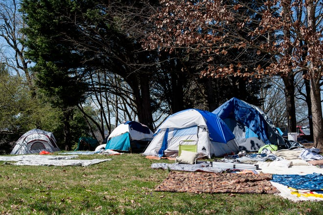 The homeless encampment at Aston Park in Asheville March 26, 2021.