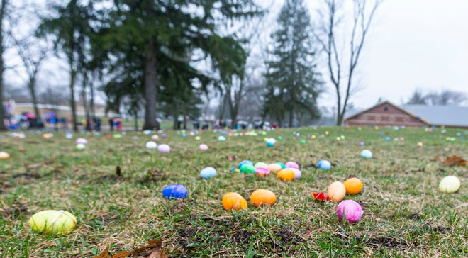 Thousands of candy-filled eggs cover the grass at a park.