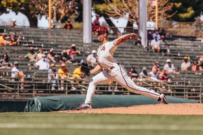 ASU left-hander Justin Fall pitched 6 2/3 scoreless innings Sunday as the Sun Devils won 9-0 to complete a sweep over Washington State.