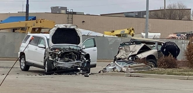 Two vehicles involved in a head-on collision in Sioux Falls on Saturday. Two people were taken to the hospital with non-life threatening injuries.