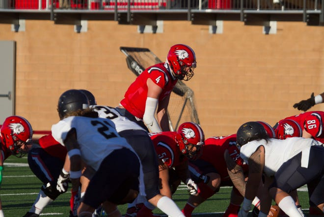 Dixie State quarterback Kody Wistead (4) starred at Pine View before his college career. Now, he's tasked with leading DSU's offense into its first full FCS season.