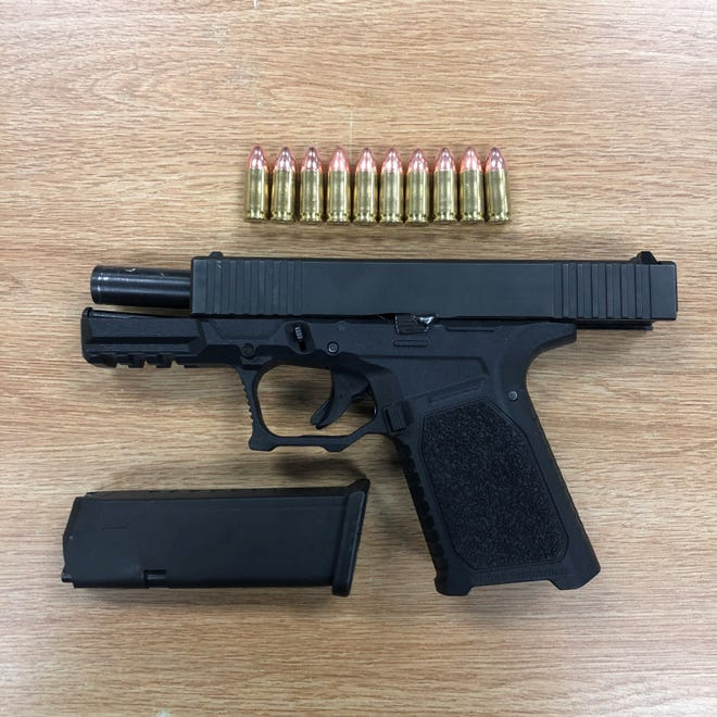 An unregistered firearm and ammunition seized by Ventura County deputies on March 23.