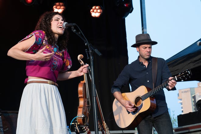 "Carrie Rodriguez and Luke Jacobs, shown here performing at the Long Center Lawn on March 27, worked together on ""From Texas With Love,"" a new video series premiering Wednesday that features Rodriguez performing musical collaborations with other prominent local musicians."