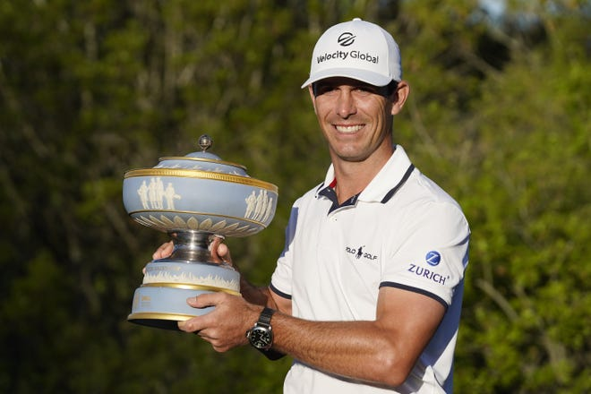 Billy Horschel holds his trophy after winning the Dell Technologies Match Play Championship golf tournament Sunday at Austin Country Club. He defeated former Longhorn Scottie Scheffler 2 and 1.