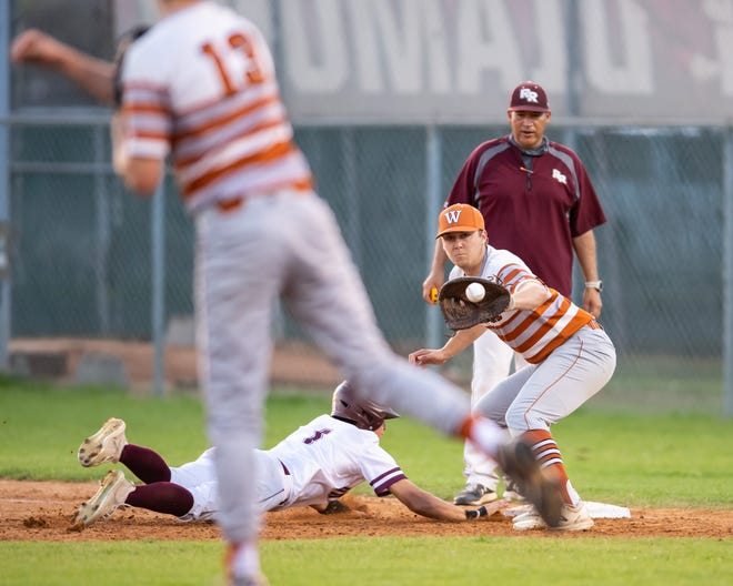 Ty Dillon of Round Rock gets back to first ahead of the throw to Kolton Clements from Westwood pitcher Ridge Morgan. Round Rock won a district baseball game 5-1 over Westwood at home on March 23 and ended up sweeping their rivals while moving into a tie for first place in District 25-6A.