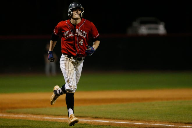 Winder-Barrow's Brady House (4) trots toward home plate fter hitting a home run during a game against Lanier on Tuesday, March 23, 2021. Winder-Barrow won 9-5. (Photo/Joshua L. Jones, Athens Banner-Herald)