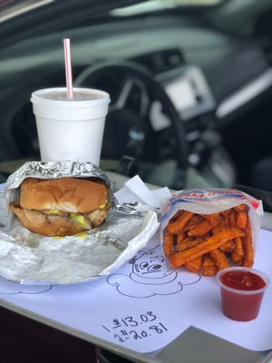 A grilled honey mustard chicken sandwich, sweet potato fries and Boston cooler are on the menu at Dilly's Drive-in in Ellet.