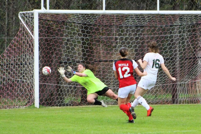 Alexis DeLoach (12) scores a goal for the Lady Red Devils.