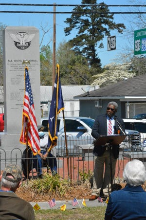 Isaac Smith, a Hampton County Vietnam War veteran who served in the U.S. Army, recognized all local Vietnam veterans during Monday's ceremony.
