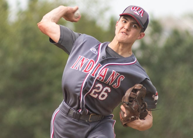 West Allegheny pitcher Gavin Miller delivers a pitch against Laurel Highlands in 2019. Miller is committed to Auburn.