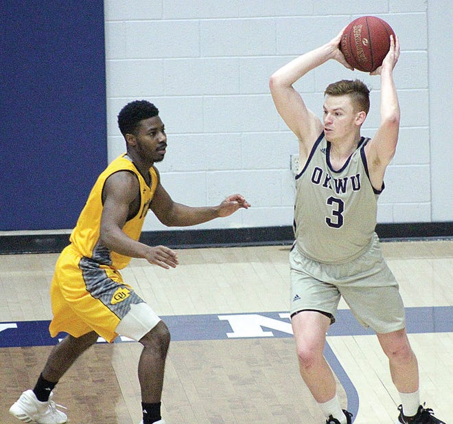 For the third-straight year, Brooks Haddock, right, averaged double-figure scoring for Oklahoma Wesleyan University. The Eagles have won 77 games during his three years on the team. He was named Third-Team All-American.